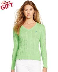 Polo Ralph Lauren Cabled V Neck Sweater Chandler Green