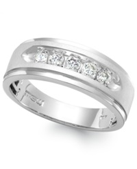 Macy's Men's Five Stone Diamond Ring In 10K White Gold 1 4 Ct. T.W.