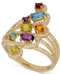 Macy's Multi Gemstone 1 1 5 Ct. T.W. And Diamond 1 3 Ct. T.W. Statement Ring In 14K Gold Yellow Gold