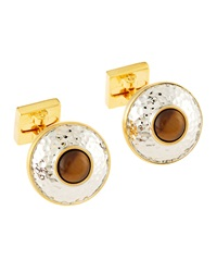 Ike Behar Hammered Tiger's Eye Cuff Links