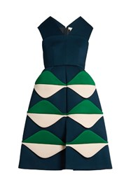 Delpozo V Neck Sleeveless Neoprene Bell Dress Green Multi