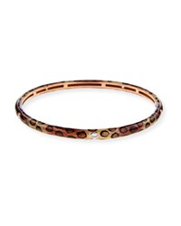 Adolfo Courrier Cheetah Print Enamel Bangle With Diamonds