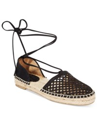 Frye Women's Leo Perforated Lace Up Espadrille Sandals Women's Shoes Black
