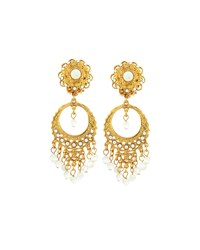 Jose And Maria Barrera Golden Pearlescent Round Filigree Chandelier Earrings Women's