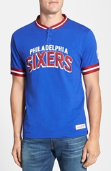 Mitchell And Ness 'Philadelphia 76Ers Game Ball' Tailored Fit Short Sleeve Henley Blue