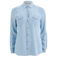 Boss Orange Women's Crop Denim Shirt Blue