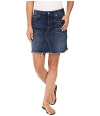 7 For All Mankind A Line Skirt W Raw Hem Shadow Back Pockets In Medium Shadow Blue Medium Shadow Blue Women's Skirt