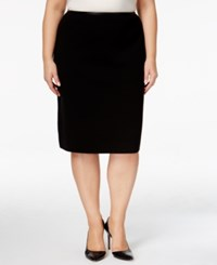 Calvin Klein Plus Size Faux Leather Trim Pencil Skirt Oxford