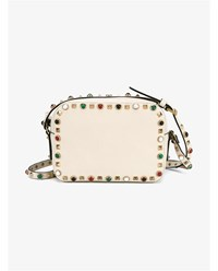 Valentino Rockstud Leather Camera Bag Ivory Multi Coloured Stone Denim
