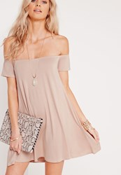 Missguided Petite Bardot Short Sleeve Swing Dress Nude Beige