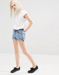 Cheap Monday High Rise Mom Shorts With Roll Hem Blue