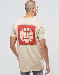 Asos Longline T Shirt With Military Globe Prints Blonde Beige