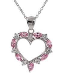 Giani Bernini Pink And Clear Cubic Zirconia Heart Pendant Necklace In Sterling Silver Only At Macy's