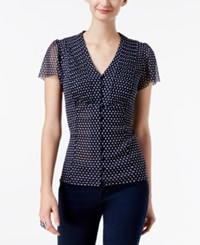 Inc International Concepts Polka Dot Flutter Sleeve Blouse Only At Macy's Mini Dot