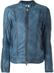 Diesel Zipped Leather Jacket Blue