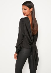 Missguided Black Long Sleeve Tie Back Blouse