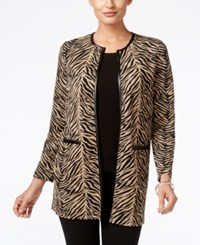 Jm Collection Petites Petite Textured Duster Cardigan Only At Macy's Cafe Zebra