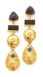 Lizzie Fortunato Concho Column Earrings Gold Black