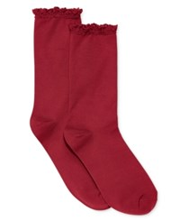Hue Women's Lace Trim Socks Deep Red