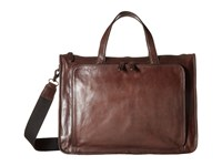 Frye Stanton Work Dark Brown Washed Tumbled Full Grain Handbags