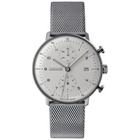 Junghans 027 4003.44 Men's Max Bill Self Winding Chronoscope Stainless Steel Bracelet Strap Watch Silver White