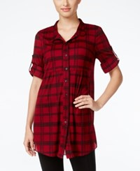 Styleandco. Style Co. Petite Plaid Tunic Shirt Only At Macy's Classy Plaid Scarlet