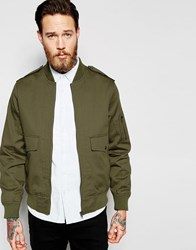 Asos Military Bomber Jacket With Ma1 Pocket In Khaki Khaki Green
