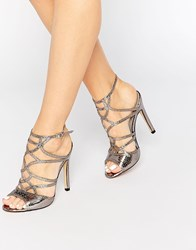 Truffle Collection Helen Cut Out Heeled Sandals Gunmetal Silver