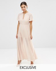 Vero Moda Petite Flutter Sleeve Maxi Dress Rose Dust Pink