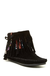 Rock And Candy Martha Fringe Moccasin Booties Black