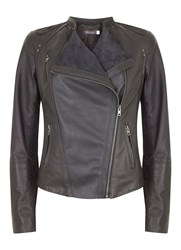 Mint Velvet Graphite Leather And Suede Jacket Grey