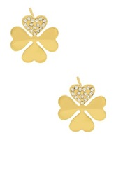 Four Leaf Clover Stud Earrings Metallic