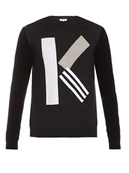 Kenzo K Intarsia Wool Sweater Grey Multi