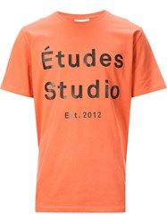 A Tudes Studio 'Logo' T Shirt Yellow And Orange