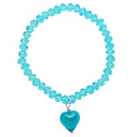 Martick Faceted Crystal Murano Heart Bracelet Turquoise