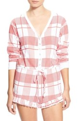 Wildfox Couture Pink Plaid Pajama Romper Red