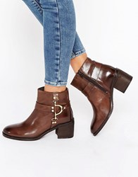 Ravel D Ring Leather Ankle Boots Brown