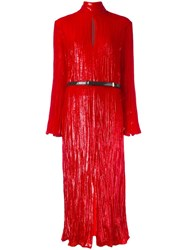 Nina Ricci Metallic High Neck Dress Red