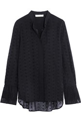 Chloe Broderie Anglaise Cotton Voile Blouse Midnight Blue