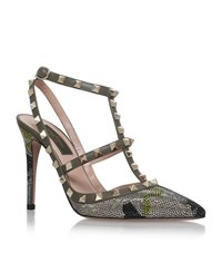 Valentino Embellished Camouflage Rockstud Shoes Female Khaki