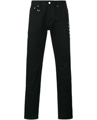 Uniform Experiment Slim Fit Jeans With Python Skin Patch Black White
