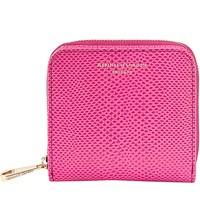Aspinal Of London Mini Continental Reptile Effect Leather Coin Purse Pink