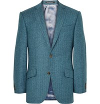 Richard James Blue Hyde Slim Fit Herringbone Wool And Silk Blend Blazer Blue