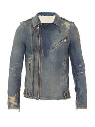 Balmain Distressed Denim Jacket Blue