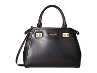 Calvin Klein Toya Olympia Leather Saffiano Satchel Black Gold Satchel Handbags