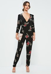 Missguided Black Floral Wrap Printed Jumpsuit