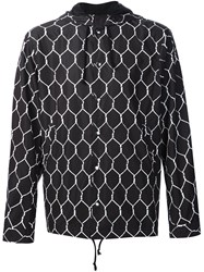 Undercover Geometric Print Hooded Jacket Black