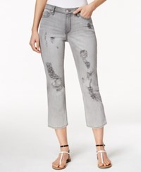 Calvin Klein Jeans Ripped Grey Fog Wash Cropped