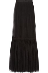 Needle And Thread Lace Trimmed Tulle Maxi Skirt Black