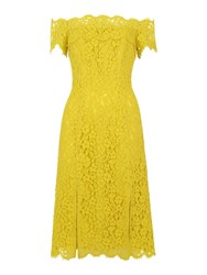 Whistles Off Shoulder Lace Dress Yellow